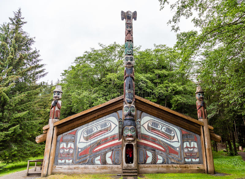 Traditional Inuit Lodge. Ancient Inuit Totem Lodge in Alaska royalty free stock photo