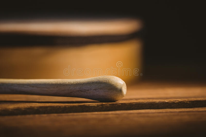 Traditional Irish bodhran and stick stock photography