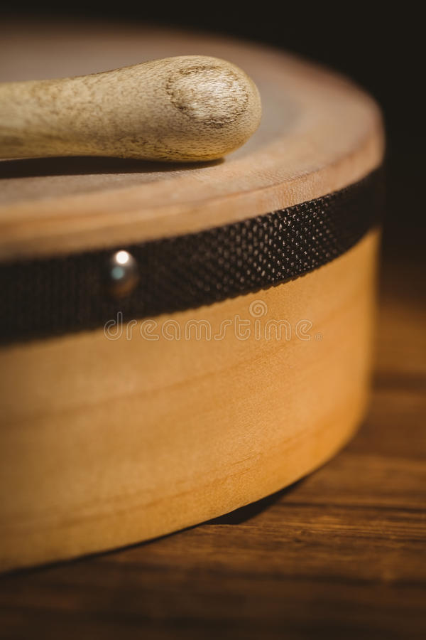 Traditional Irish bodhran and stick stock photo