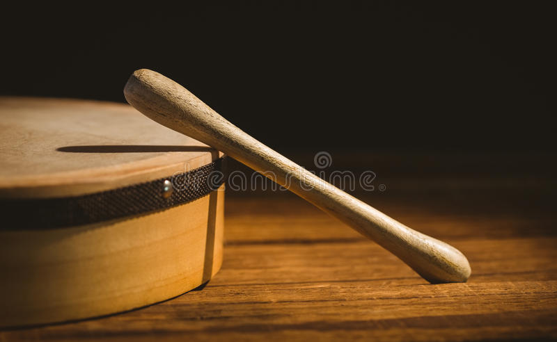 Traditional Irish bodhran and stick stock image