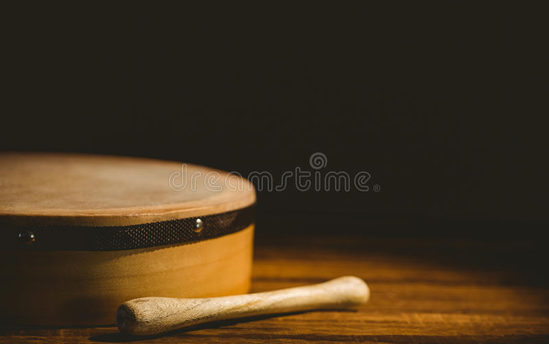 Traditional Irish bodhran and stick royalty free stock photos