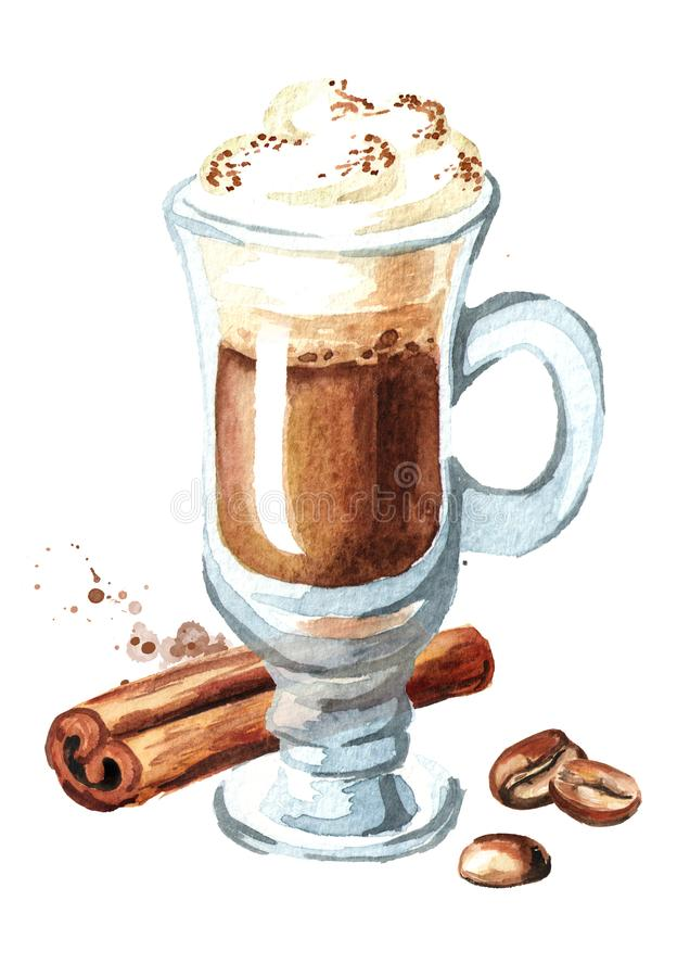 Traditional Irish cream coffee with cinnamon and coffee beans. Watercolor hand drawn illustration,. isolated on white background royalty free illustration