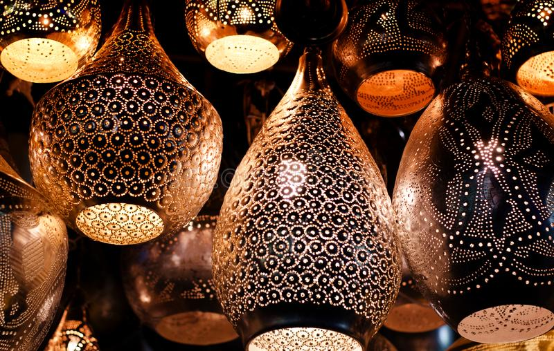 Traditional islamic lantern on a store of an old arabian market. stock photos