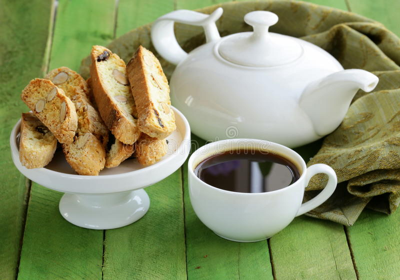 Traditional Italian biscotti cookies (cantucci). On a wooden table stock photos