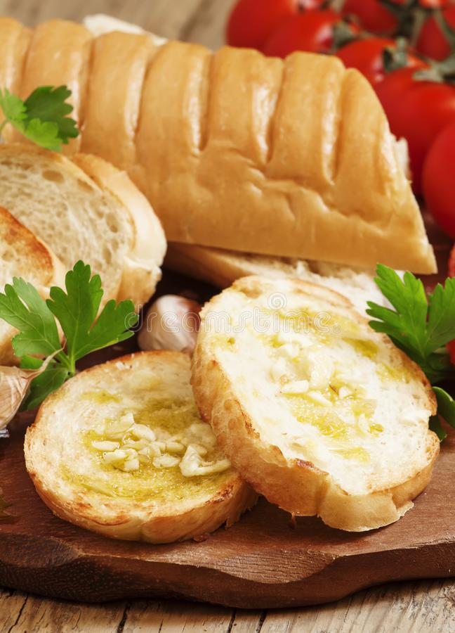 Traditional Italian bruschetta with garlic and olive oil, select stock photos