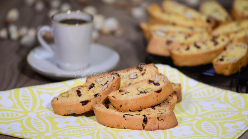 Traditional italian cantuccini almond cookies. Delicious homemade cantucci biscotti. Traditional italian cantuccini almond cookies. Delicious homemade cantucci stock image