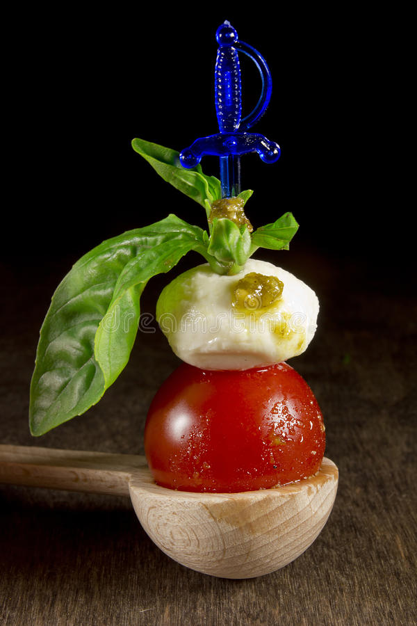 Traditional Italian Caprese appetizer stock photos