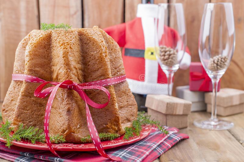 Traditional Italian Christmas fruit cake Panettone Pandoro with royalty free stock image