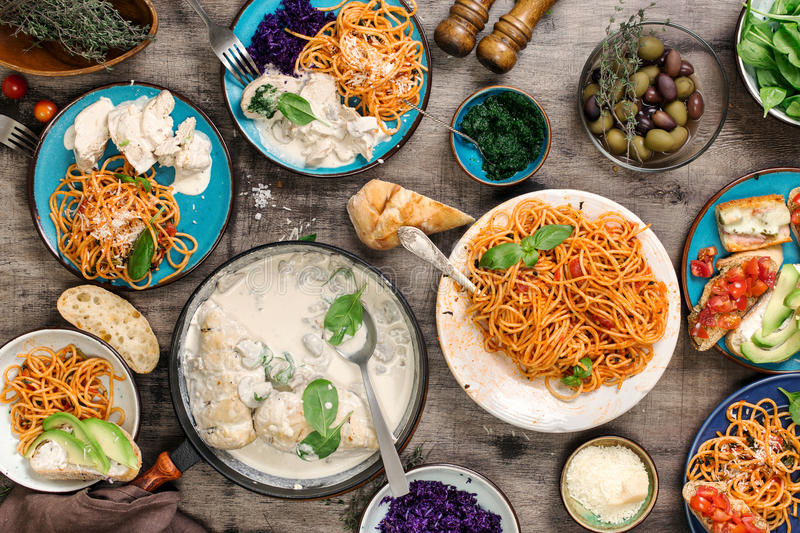 Traditional Italian food table and snacks, top view royalty free stock image