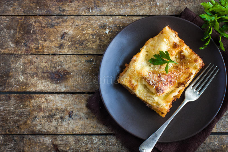 Traditional italian lasagna with minced beef bolognese sauce royalty free stock image