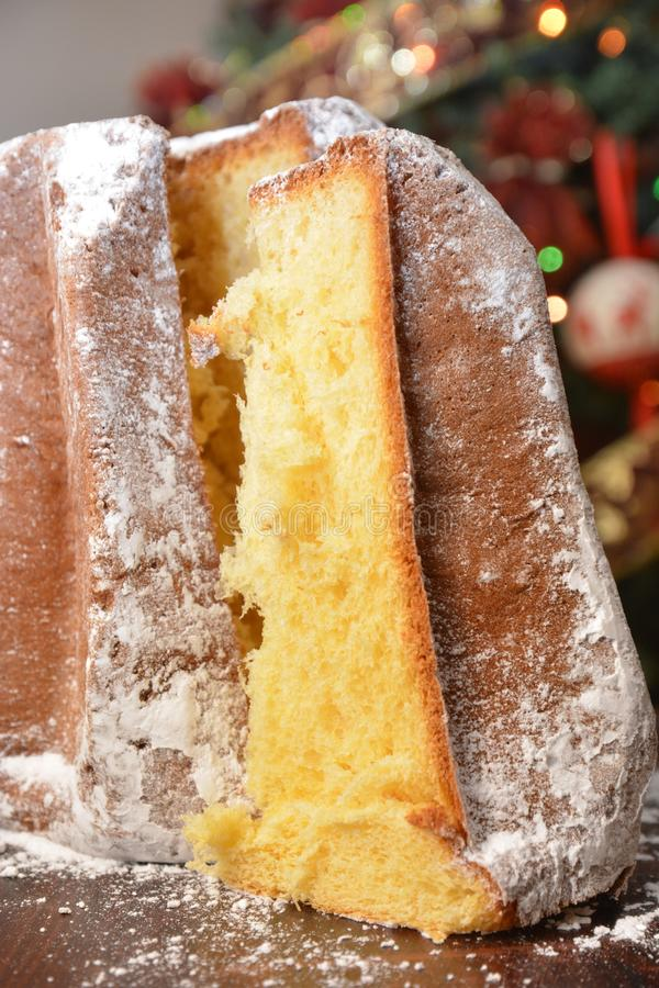 Traditional italian pandoro panettone dessert on table food italian for Christmas festivity royalty free stock image