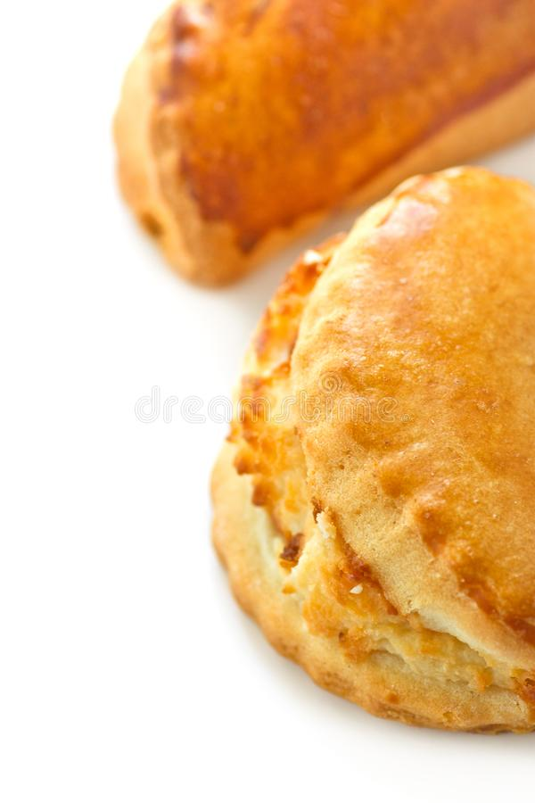 Traditional Italian pastry cassatella sweet ravioli with ricotta filling isolated on white. Background stock photography
