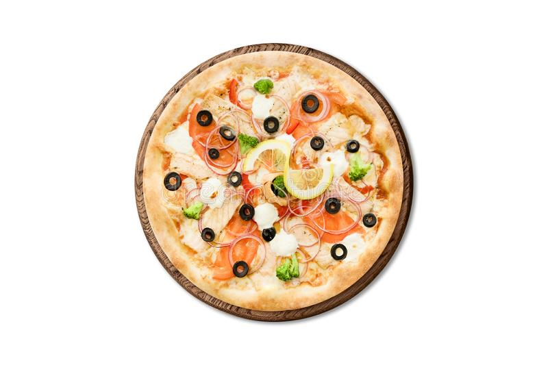 Traditional Italian pizza with salmon, broccoli and philadelphia cheese on wooden board isolated on white background for menu stock photos