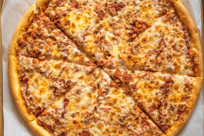 Traditional Italian pizza, top view. Spicy food, pizza background royalty free stock photos