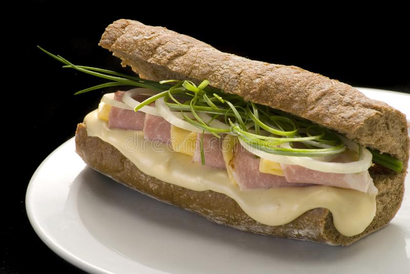 Traditional Italian sandwich with ham, cheese and onion on a white plate. Traditional Italian sandwich with ham and cheese on a white plate, panini, bread, food stock photos