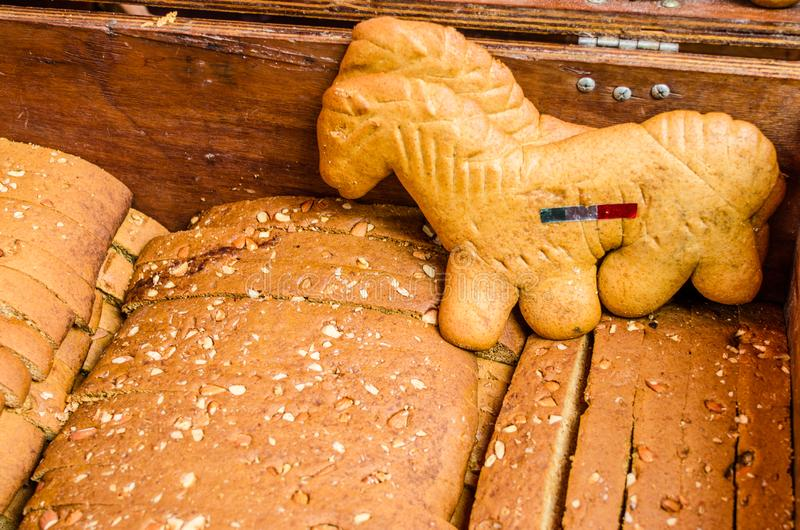 Traditional Italian sweet pastry breads at a street food market stock photo