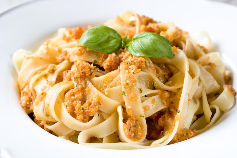 Traditional Italian tagliatelle pasta stock images