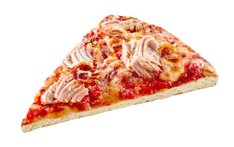 Traditional Italian tuna seafood pizza slice stock image
