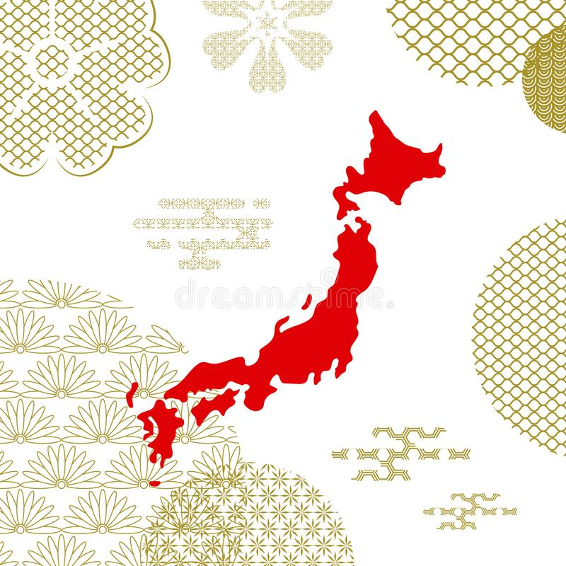 Traditional japan background with country map royalty free illustration