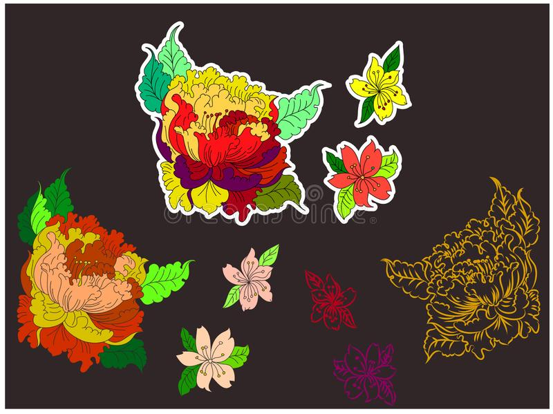 Traditional Japan set vector for backdrop on background. Japanese vector on background.Chinese flower for sticker printing on board and screen shirt on vector illustration