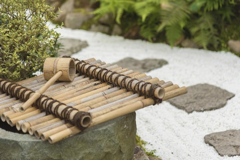 Traditional Japanese Bamboo Fountain. Traditional Bamboo Fountain in Japan stock photos