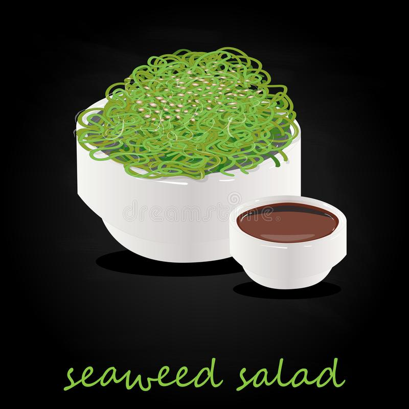 Traditional Japanese Chuka seaweed salad illustration isolated. On black. Food collection vector image stock illustration
