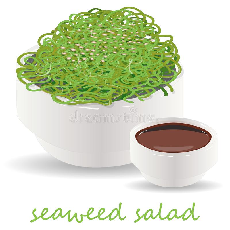 Traditional Japanese Chuka seaweed salad illustration isolated. On white. Food collection vector illustration