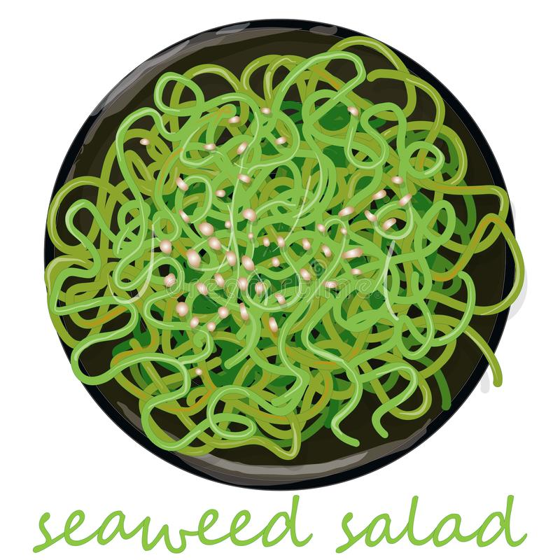Traditional Japanese Chuka seaweed salad illustration isolated. On white. Food collection royalty free illustration