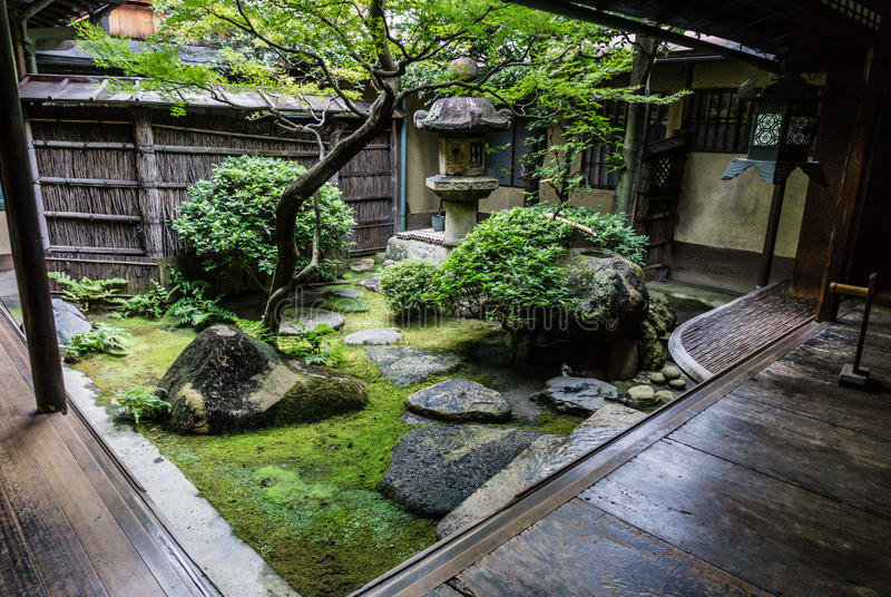 Traditional Japanese courtyard garden royalty free stock photography