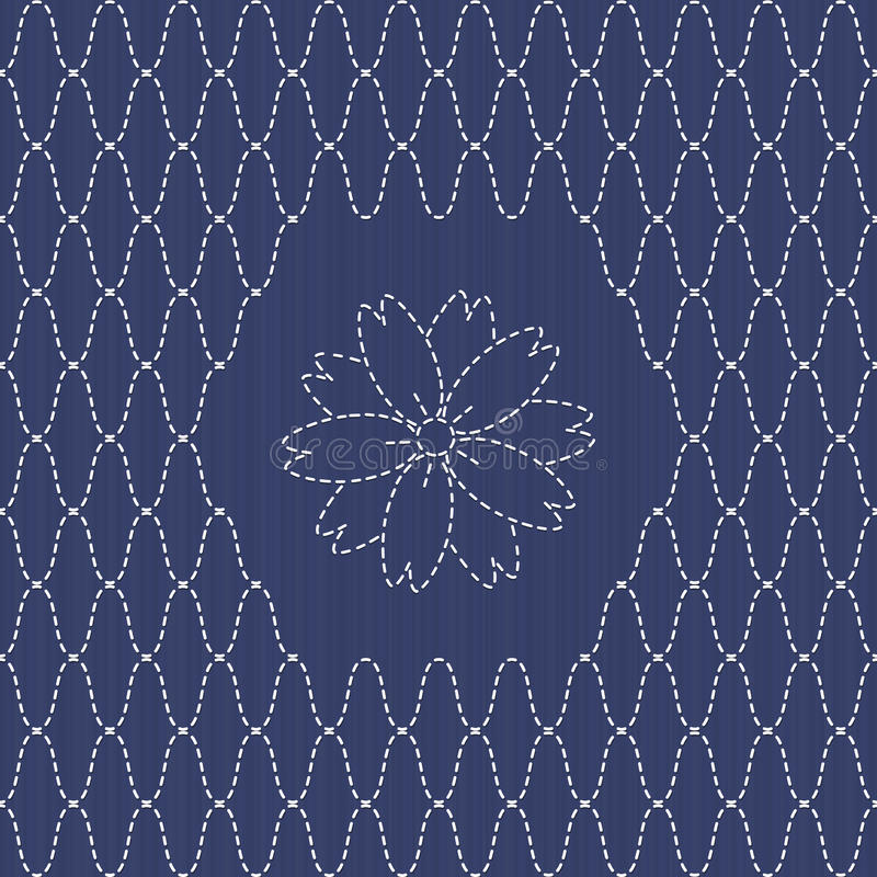 Free Traditional Japanese Embroidery Ornament With Sakura Flower. Sashiko. Royalty Free Stock Photo - 50187445