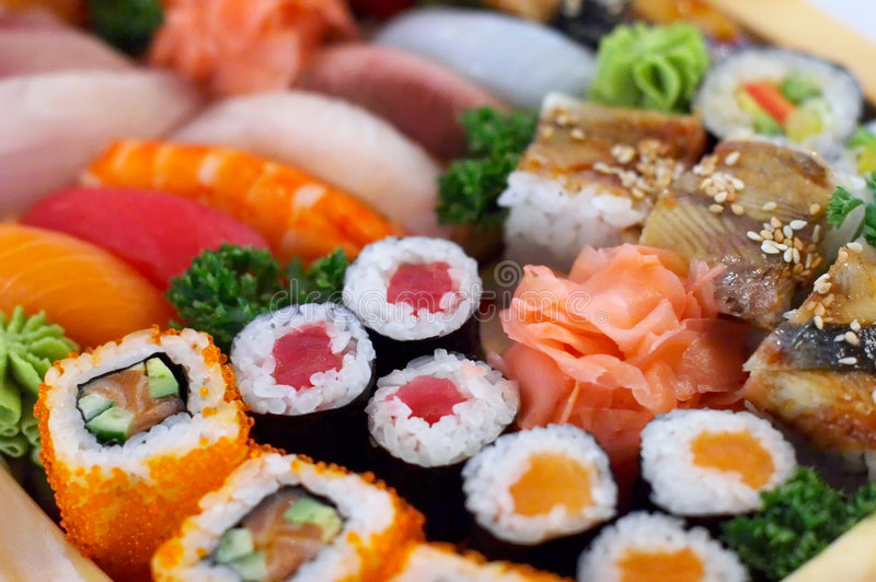 Traditional Japanese food. Sushi, rolls stock photo