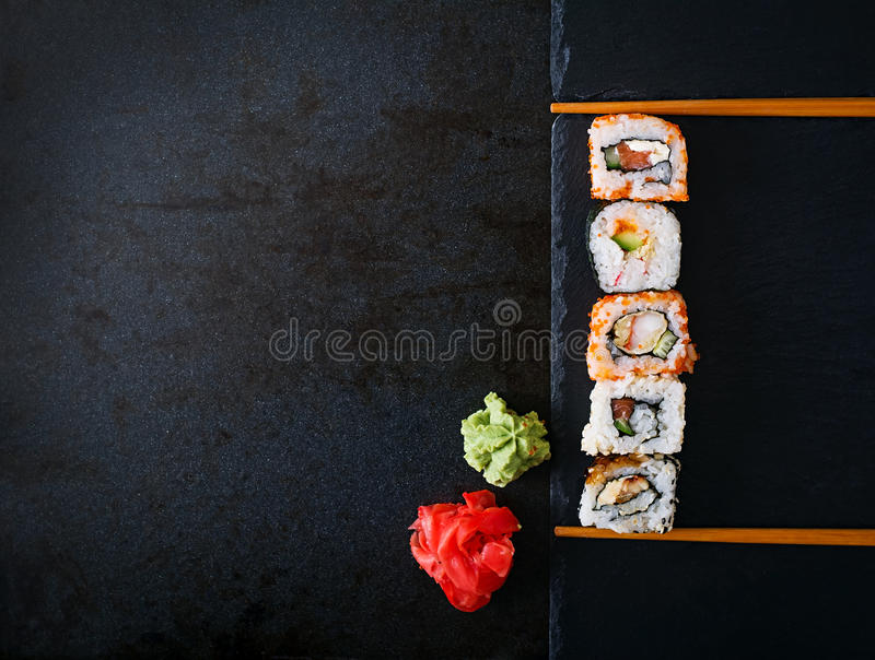 Traditional Japanese food - rolls and futomaki. stock images