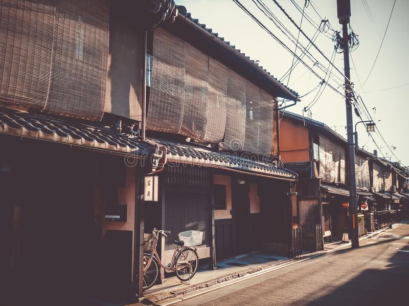 Traditional japanese houses, Gion district, Kyoto, Japan royalty free stock photo