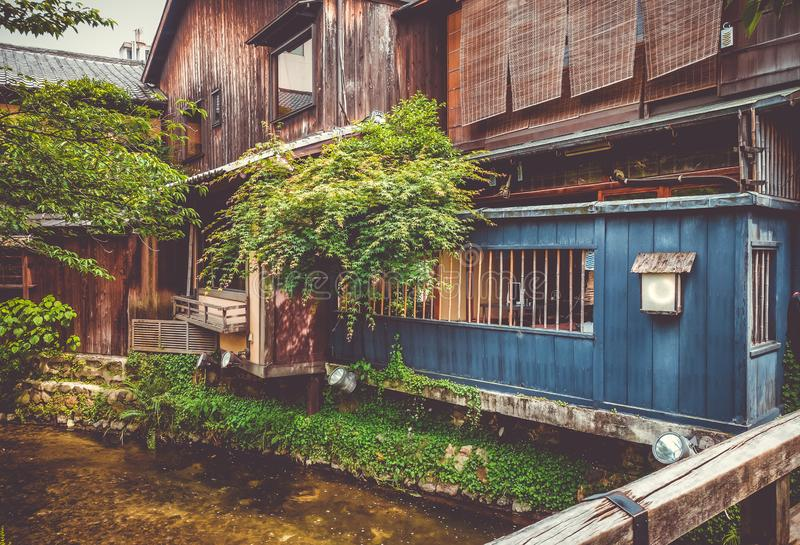 Traditional japanese houses on Shirakawa river, Gion district, K stock image