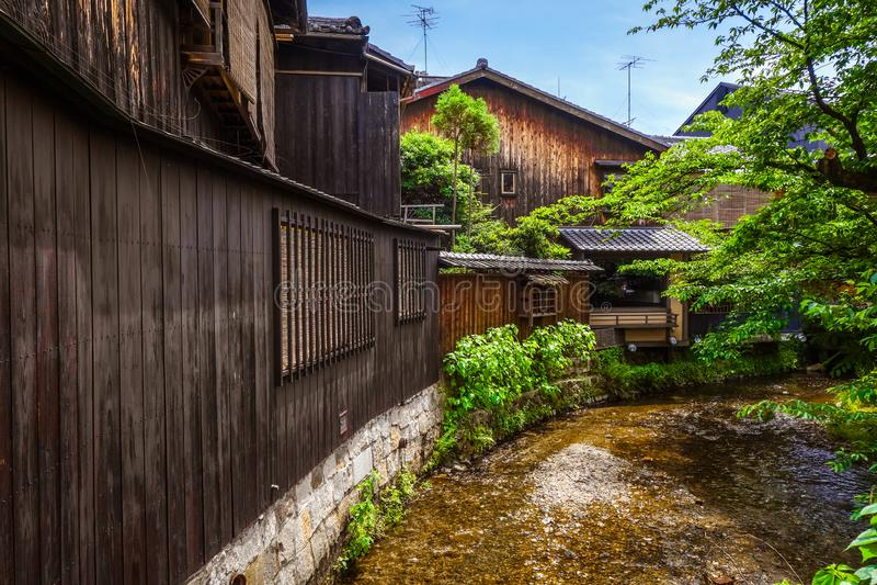 Traditional japanese houses on Shirakawa river, Gion district, K royalty free stock photography