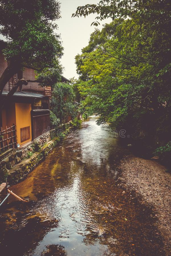 Traditional japanese houses on Shirakawa river, Gion district, Kyoto, Japan royalty free stock photography