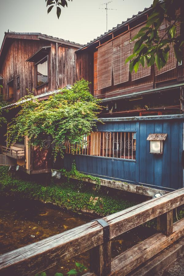 Traditional japanese houses on Shirakawa river, Gion district, Kyoto, Japan royalty free stock photography