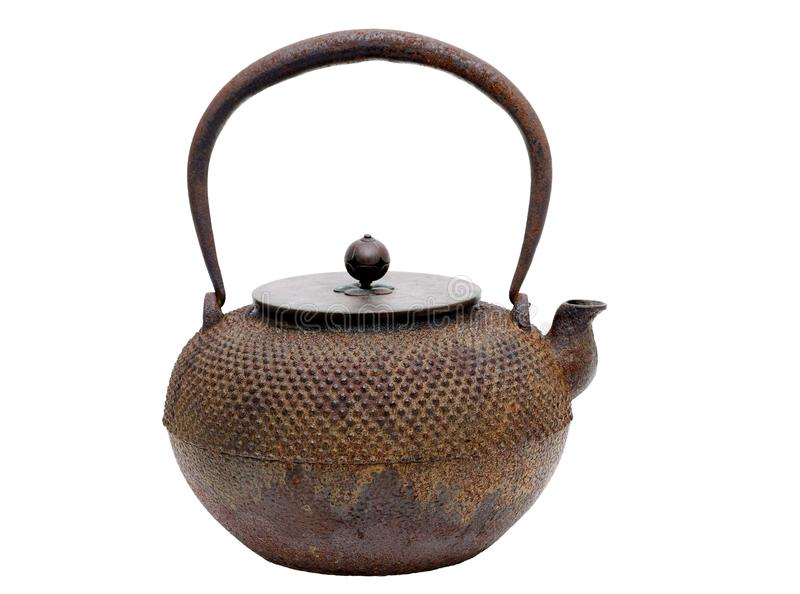 Traditional Japanese iron teapot stock photo