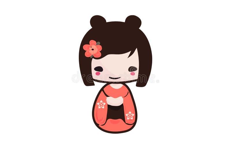 Traditional Japanese Kokeshi doll isolated vector illustration. stock illustration