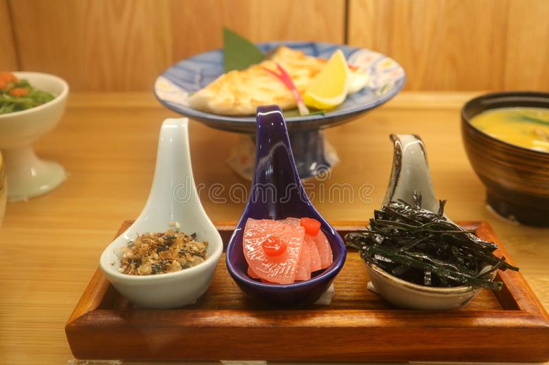 Traditional japanese lunch attachment stock image
