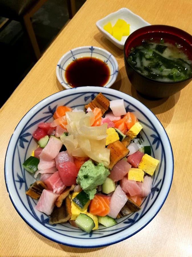 Traditional Japanese meal chirashi don rice royalty free stock photo