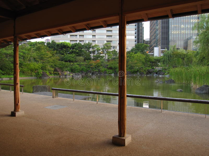 Traditional Japanese park in the middle if the city, Tokyo stock photos