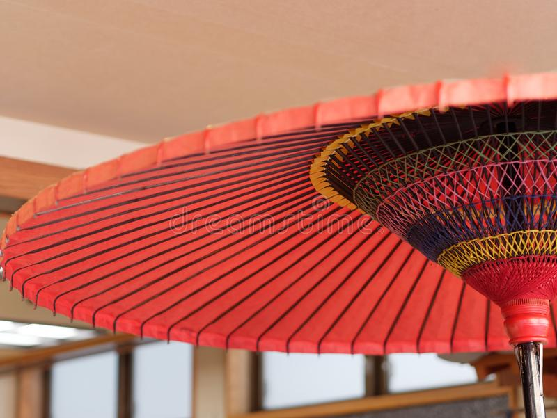 Traditional Japanese red paper umbrella. stock images
