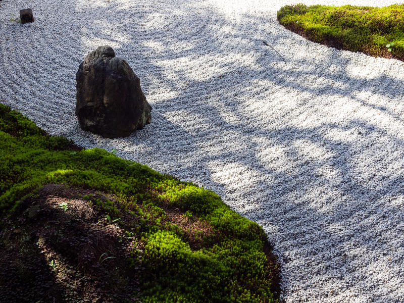 Traditional Japanese rock and sand garden royalty free stock photo