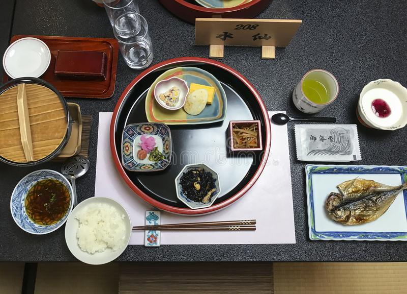 Traditional japanese ryokan breakfast Hakone stock photo