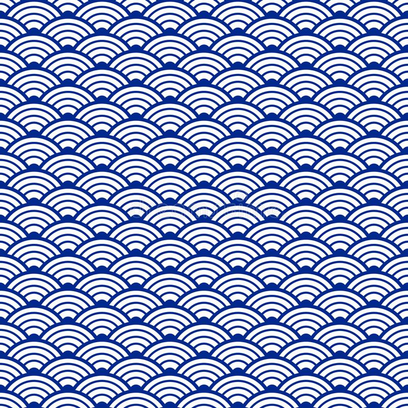 Traditional japanese seamless pattern with waves. Ornament for ceramic. Water texture. Nautical background. Vector art stock photo