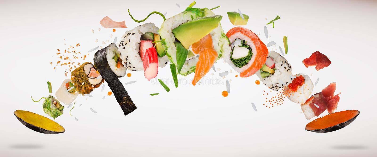 Traditional japanese sushi pieces on rustic concrete background. stock illustration