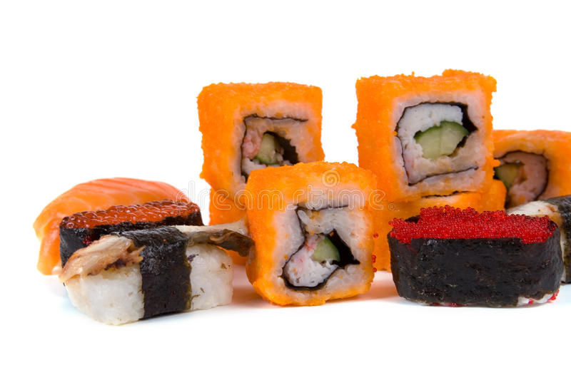 Traditional japanese sushi and rolls stock photography