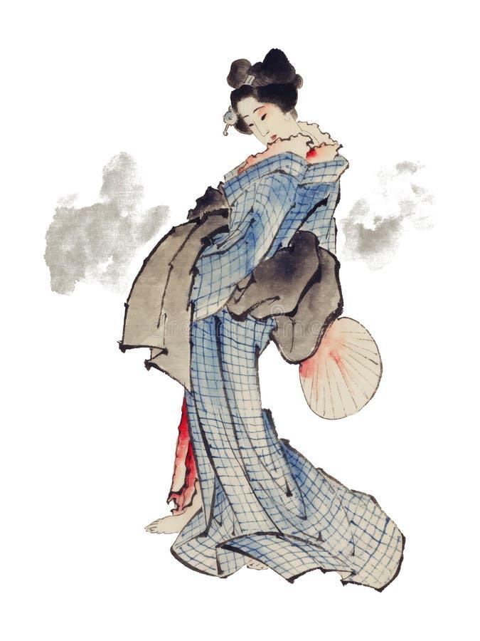 Traditional Japanese Ukyio-e style illustration of a Japanese woman in kimono by Katsushika Hokusai 1760-1849. Original from Lib vector illustration