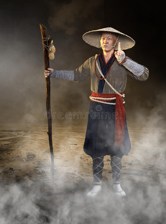 Traditional Japanese Wise Man. Traditional Sensei wise man from Japan. The Japanese Asian man is dressed in traditional clothes